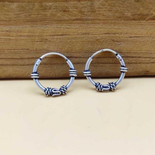 925 Sterling Silver Oxidized Vintage Silver Bali Hoop Earring
