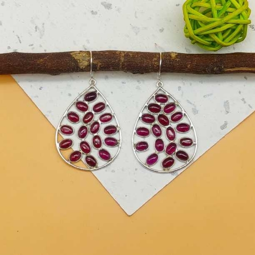 925 Sterling Silver Handmade Red Garnet Gemstone Handmade Jumble Stone Earring