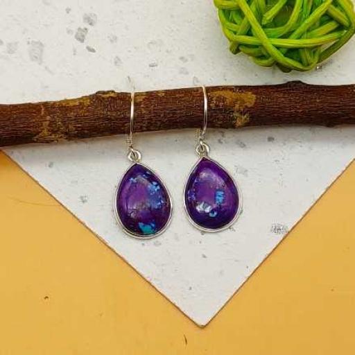 Drop Shape Purple Copper Turquoise Gemstone 925 Sterling Silver Handmade Earring