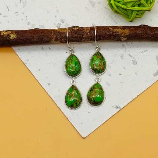Green Copper Turquoise 925 Sterling Silver Handmade Dual Stone Earring