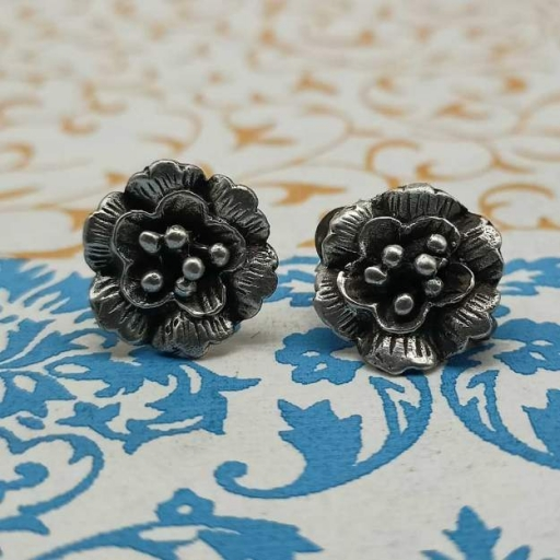 925 Sterling Silver Tribal Flower Shapes Bohemian Vintage Studs Earring