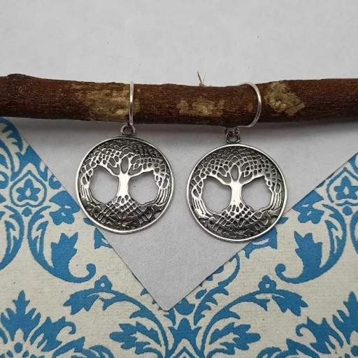 Heavy Work Tree Of Life Design 925 Sterling Silver Earring Bohemian