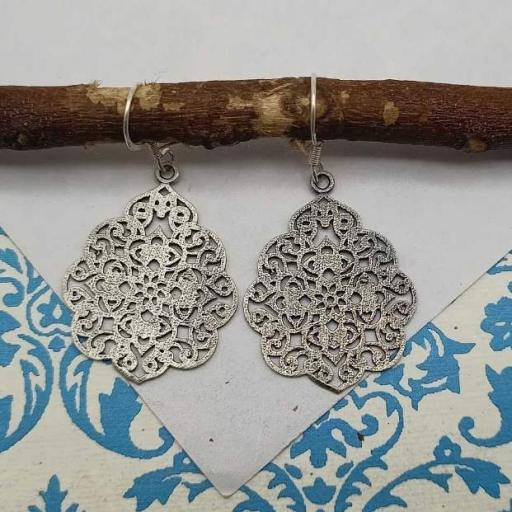 Flower Deisgn Jali Work 925 Sterling Silver Handmade Earring