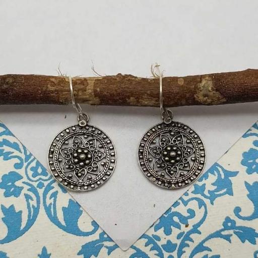 Flower Design Handmade Oxidized 925 Sterling Silver Bohemian Tribal Earring