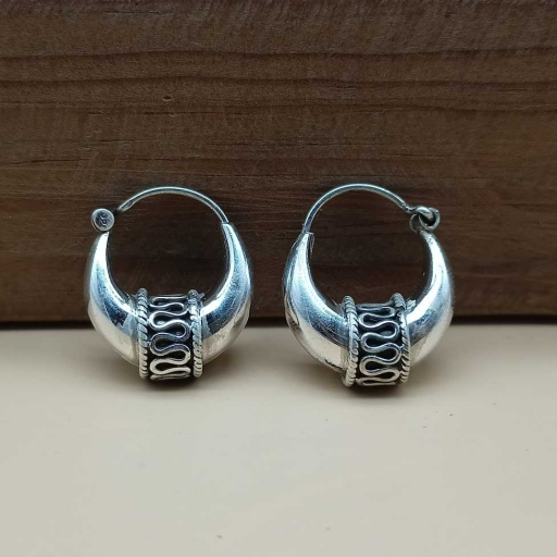 925 Sterling Silver Bohemian Oxidized Hoop Earring For Her Gift