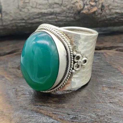 Cabochon Green Onyx Gemstone Handmade 925 Sterling Silver Adjustable Ring