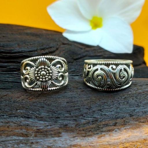 Handmade Bohemian Party Wear 925 Silver Spiral Jali Work Ring