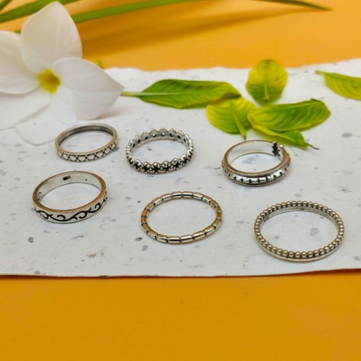 Sugarcane Design Handmade 925 Sterling Silver Stacking Ring