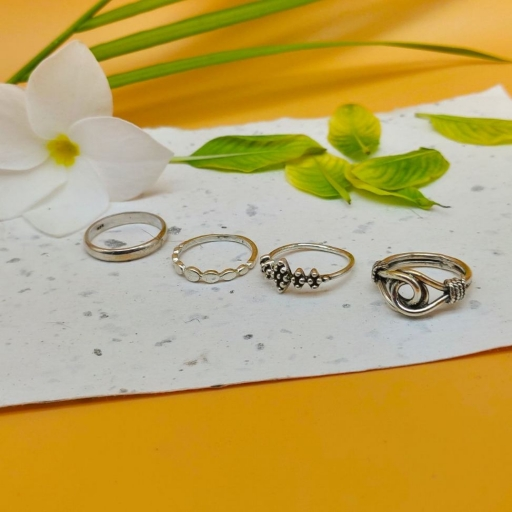 925 Sterling Silver Handmade Oval Design Bohemian Stacking Ring