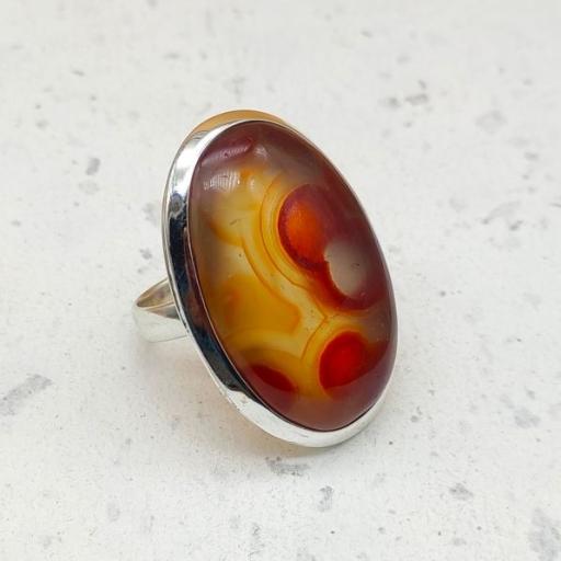 925 Sterling Silver Crazy Agate Gemstone  Adjustable Ring