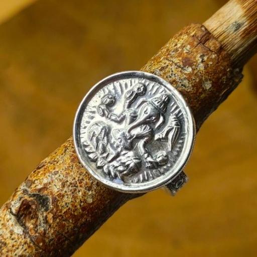 Spiritual Lord Ganesh Design 925 Sterling Silver Band Ring