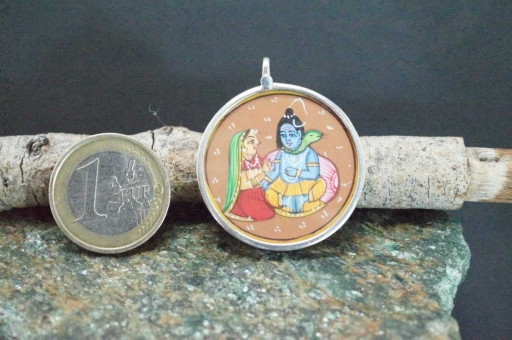 Sterling Silver 925 Glass Framed Handpainted Lord Radha Krishna On Cloth Pendant