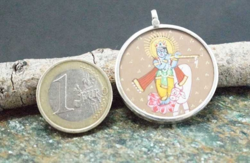 925 Sterling Silver Glass Framed Lord Krishna Handpainted On Cloth Pendant