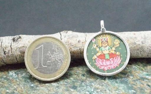 925 Sterling Silver Glass Framed Saraswati  Handpainted On Cloth Pendant