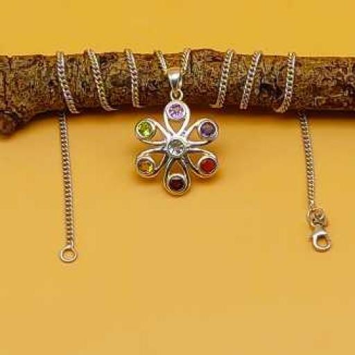 7 Chakra Gemstone Handmade Spiritual Sterling Silver 925 Bohemian Pendant