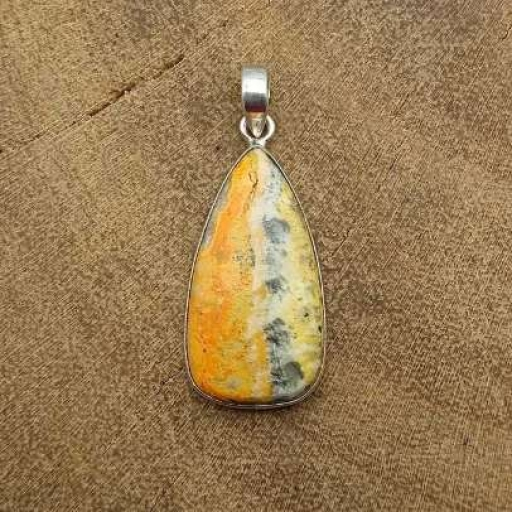 925 Sterling Silver Bumble Bee Jasper Gemstone Daily Wear Handmade Pendant