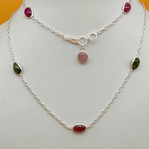 Multi Color Authentic Tourmaline Gemstone 925 Sterling Silver Handmade Designer Necklace