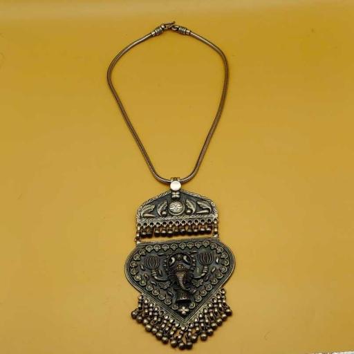 Lord Ganesha Design Long 925 Vintage Old Sterling Silver Tribal Pendant Royal Family Gift