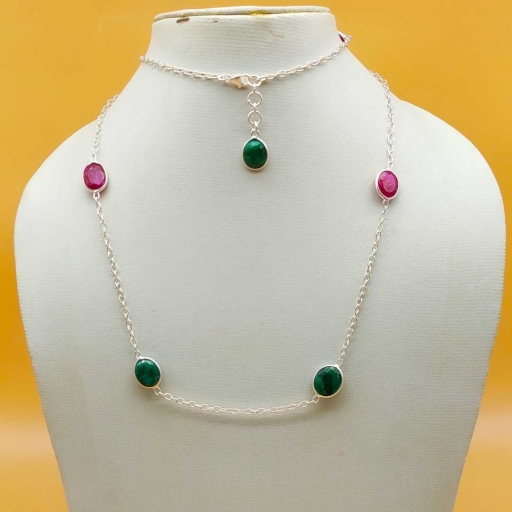 925 Sterling Silver Faceted Dyed Ruby And Emerald Gemstone Designer Chain Necklace