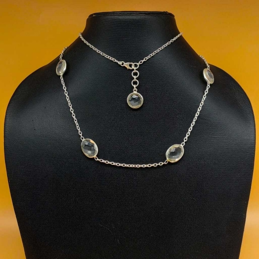 925 Sterling Silver Faceted Crystal Gemstone Designer Long Bohemian Handmade Chain Necklace