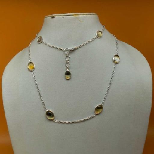Multiple Gemstone 925 Sterling Silver Natural Citrine Cabochon Gemstone Gift Item Necklace