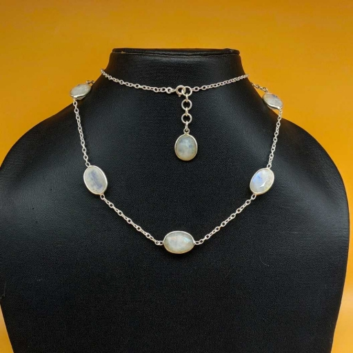 Faceted Rainbow Moonstone & Aqua Chalcedony  Sterling Silver Long Bezel Chain Necklace
