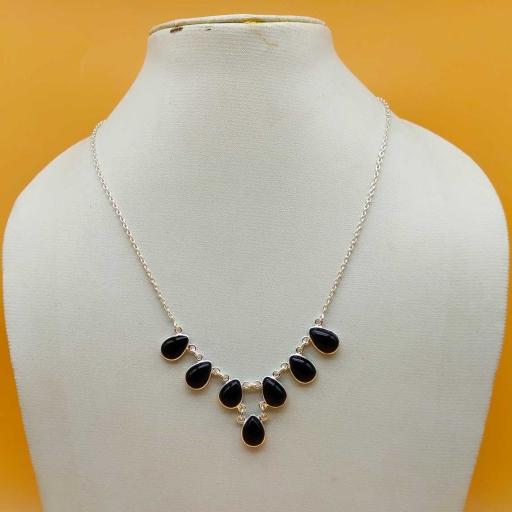 Teardrop Shape Authentic Natural Black Onyx Gemstone Designer Sterling Silver Necklace