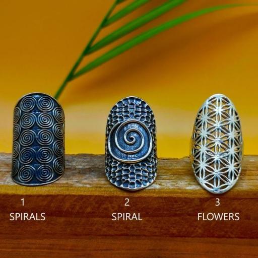 Long Spiral Design 925 Silver Bohemian Mandala Handmade Ring