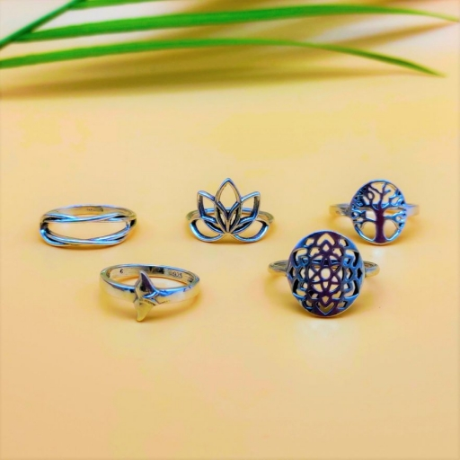 925 Sterling Silver Handmade Bohemian Tree Of Life Design Stacking Ring