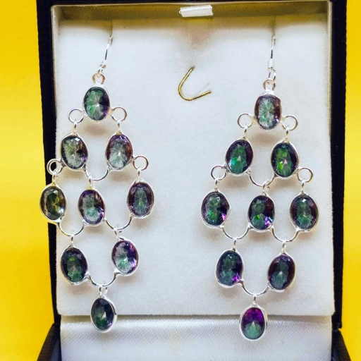 Authentic Mystic Topaz 925 Sterling Silver  Unique Chandelier Earring For Her