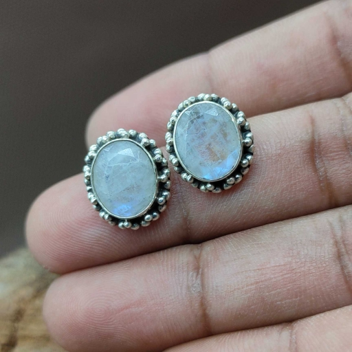 Faceted Top Quality Rainbow Moonstone Handmade 925 Sterling Silver Tops