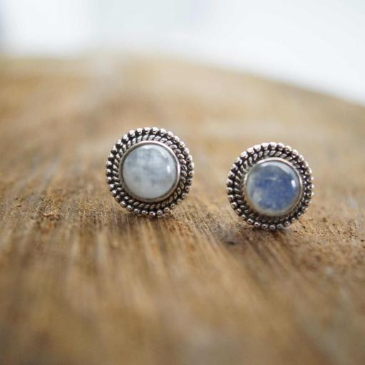 925 Sterling Silver Rainbow Moonstone Gemstone Stud Earring