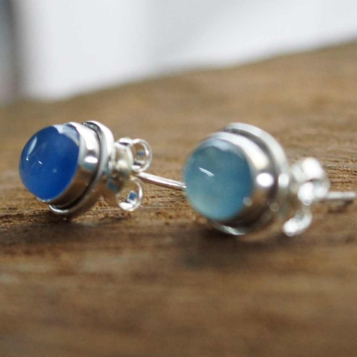 Oval Shape Chalcedony Gemstone 925 Sterling Silver Studs Earring For Gift