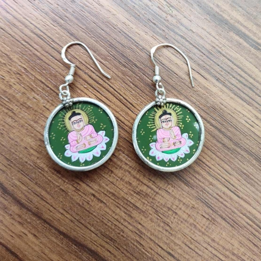 Lord Buddha On Lotus Painting Glass Framed  925 Sterling Silver Earrings