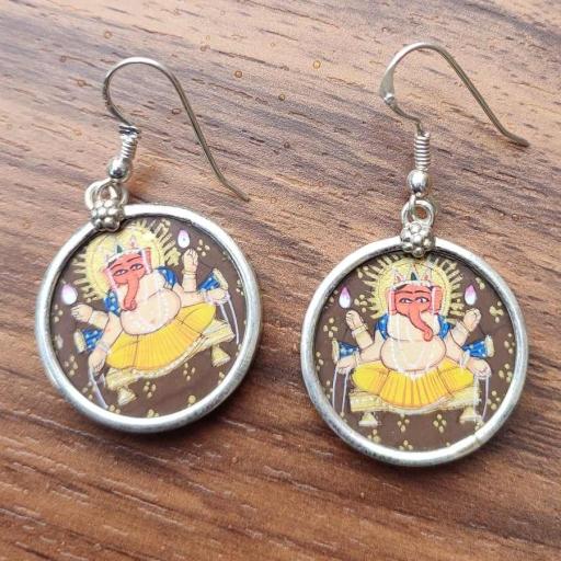 Lord Ganesh Handpainting Glass Framed In 925 Sterling Silver Gift  Earring