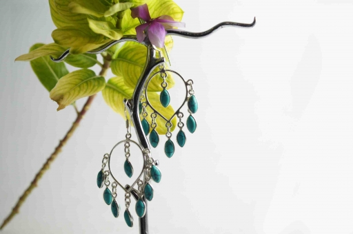 Marquise Shaped Turquoise Gemstone Hot Selling Cabochon Earring In 925 Silver