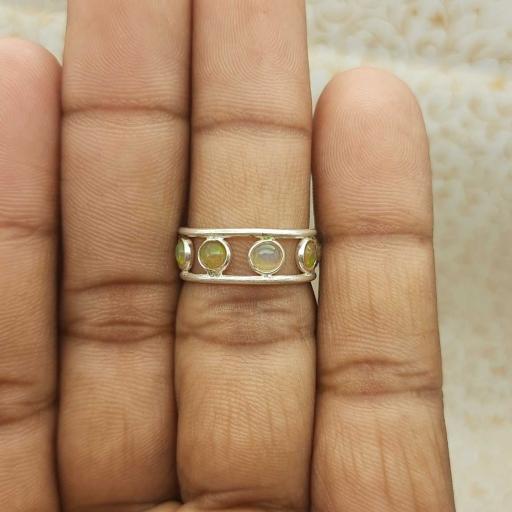 Cabochon Opal Gemstone 925 Sterling Silver Handmade Adjustable Band Ring