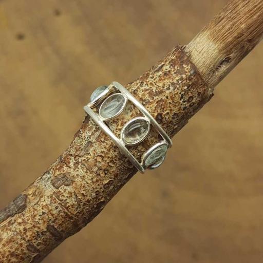 925 Sterling Silver Aquamarine Gemstone Oval Shape Adjustable Ring