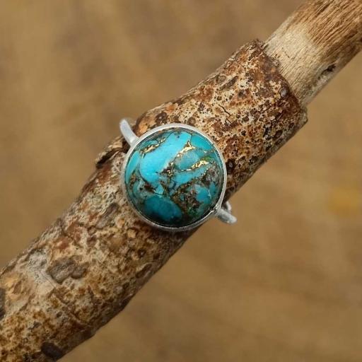 Blue Copper Turquoise Gemstone 925 Sterling Silver Bezel Girl's Ring