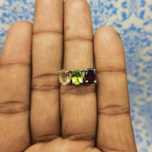 Garnet, Peridot , Citrine Gemstone 925 Sterling Silver Handmade Prong Ring