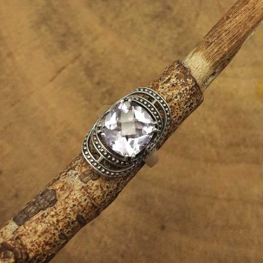 Faceted Amethyst Gemstone Designer 925 Sterling Silver Oxidized Ring