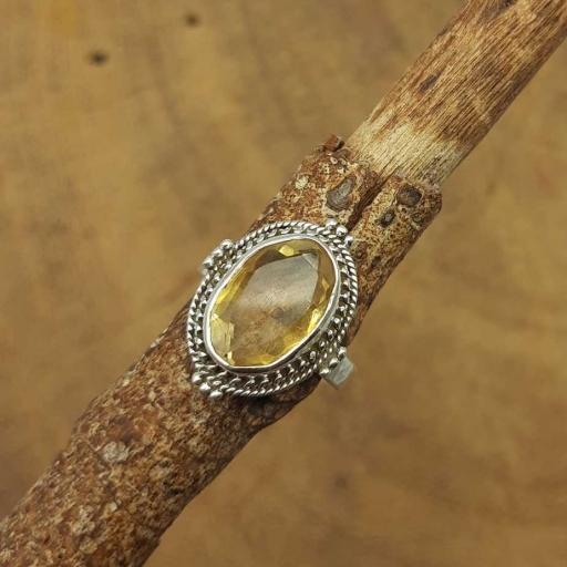 Faceted Citrine Gemstone 925 Sterling Silver Bohemian Designer  Ring