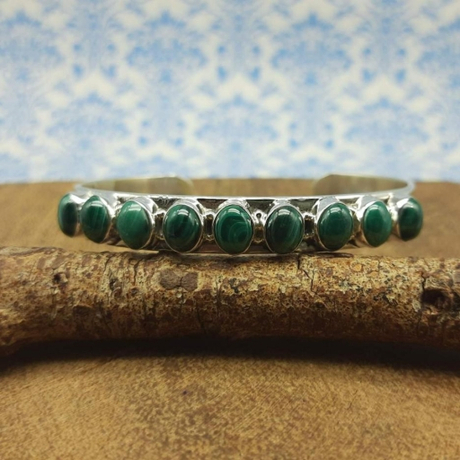 Cabochon Malachite Gemstone Designer 925 Sterling Silver Bracelet