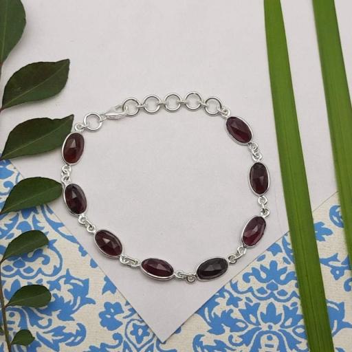 Faceted Garnet Gemstone Designer 925 Sterling Silver Minimalist Jewelry Bracelet