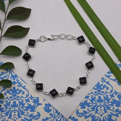 Black Onyx Gemstone Designer 925 Sterling  Silver Birthday Gift  Bracelet