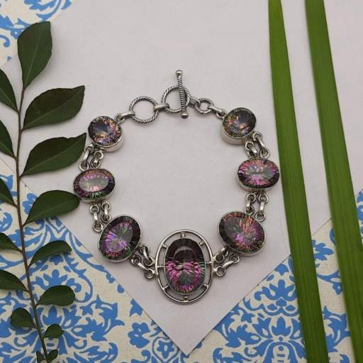 Faceted Mystic Topaz Designer 925 Sterling Silver Multi-Color Gemstone Bracelet