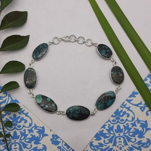 Cabochon Tibeti Turquoise Gemstone 925 Sterling  Silver Boho Bracelet