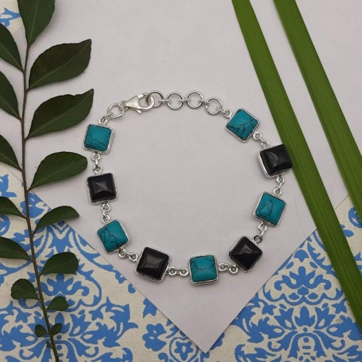 925 Sterling Silver Turquoise , Black Onyx Dual Stone Chain Bracelet