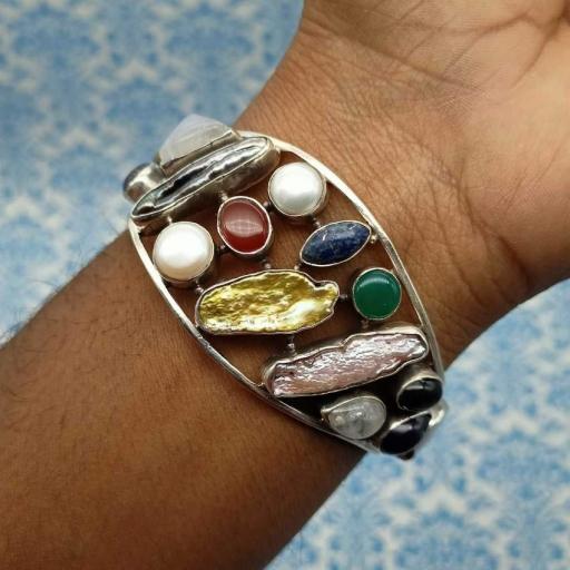 Multi Gemstone Designer 925 Sterling Silver Handcrafted Unique Bracelet