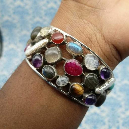 925 Sterling Silver Multi Stone Colorful & Hot Selling Bracelet